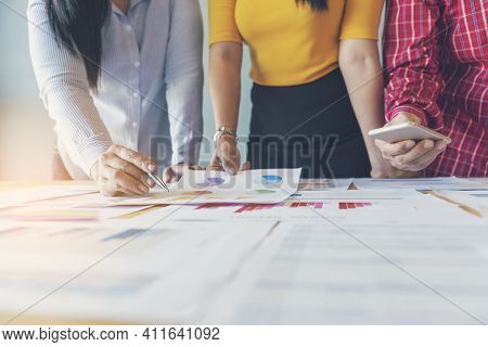 Business Strategy Team Report Chart, Graph, Infographic Data Analyze Financial Report Plan. Hands Te
