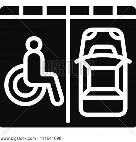 Disabled Parking Permit Icon, Parking Lot Related Vector Illustration