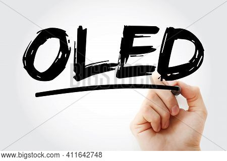 Oled - Organic Light-emitting Diode Acronym With Marker, Technology Concept Background