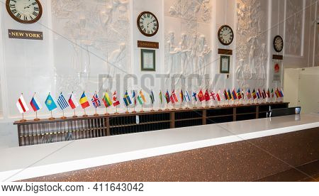 Flags Of Different Countries At The Hotel Reception Concept And Belarusian National Flag On Receptio