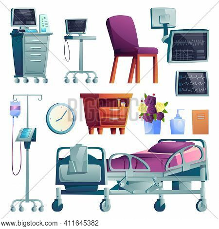 Hospital Ward Interior And Equipment Set Of Cartoon Icons. Medical Post-operation Recovery Bed, Moni