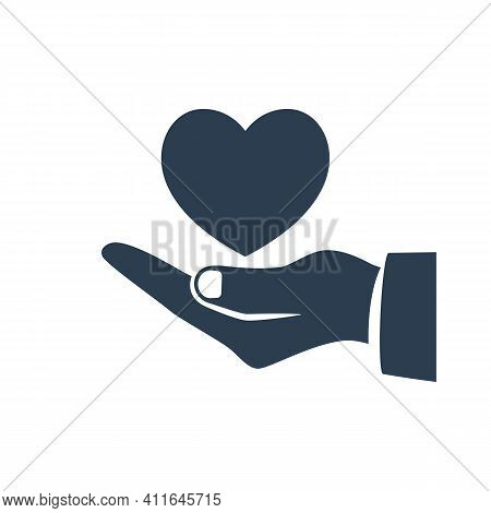 Heart In Hand Black Silhouette Icon. Vector Illustration Flat Design. Isolated On White Background.