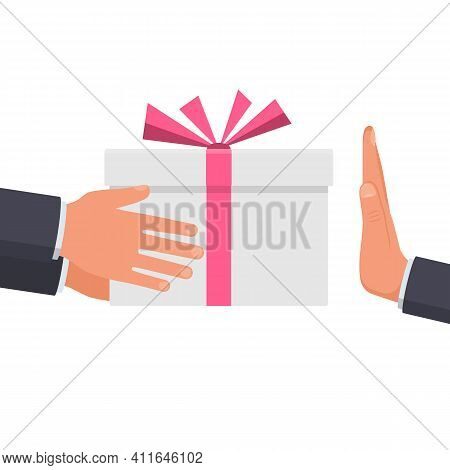Refusal Of Gift. No Corruption Concept. Rejecting Proposal. Man Holding In Hand Gift Box With Ribbon