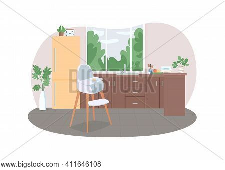 Kitchen With Highchair 2d Vector Web Banner, Poster. Feeding Stool. Family Household With No People