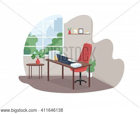 Working Mother Workplace 2d Vector Web Banner, Poster. Desk With Paperwork, Child Drawing. Home Offi