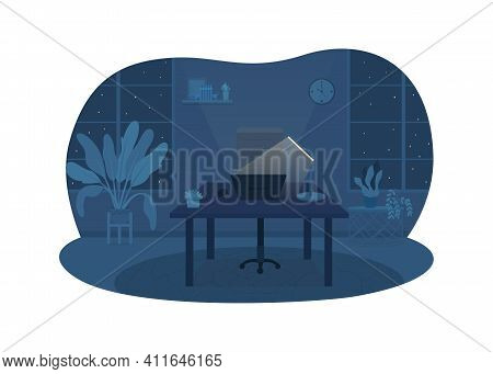 Freelancer Office At Night 2d Vector Web Banner, Poster. Desk With Lamp, Laptop. Home Workplace At L