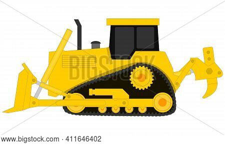 Bulldozer Illustration On Transparent Background. Icon Of Heavy Equipment For The Construction Busin