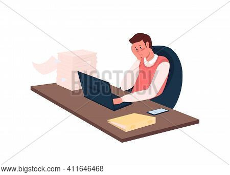 Overworked Employee Flat Color Vector Detailed Character. Overwhelmed Worker At Desk With Paperwork.