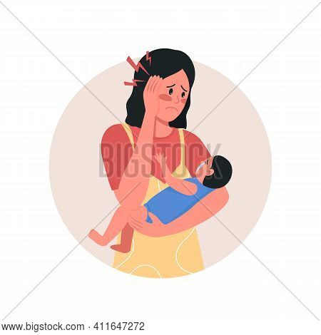 Depressed Mother 2d Vector Web Icon. Banner, Poster. Maternal Mental Health. Young Mom With Crying B