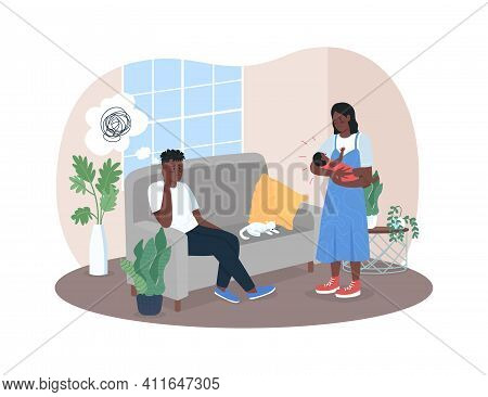 Post Natal Depression 2d Vector Web Banner, Poster. Young African American Family Flat Characters On