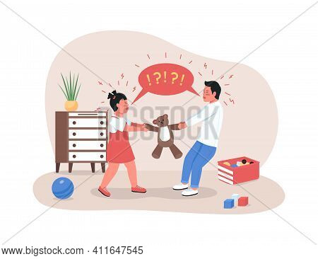 Children Fighting Over Toy 2d Vector Web Banner, Poster. Sibling Rivalry. Sister And Brother In Play