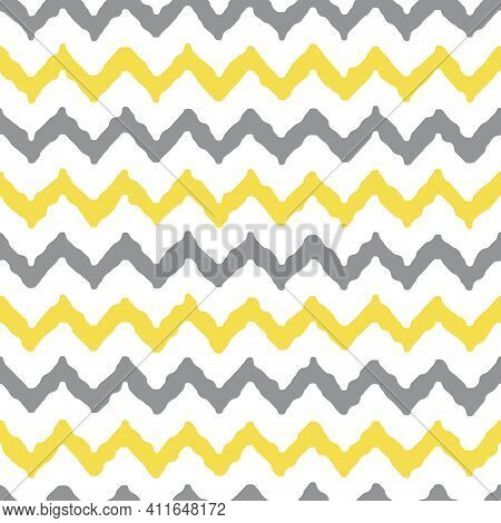 Colors Of Year 2021 Illuminating Yellow And Ultimate Gray Seamless  Zigzag Pattern, Vector Illustrat