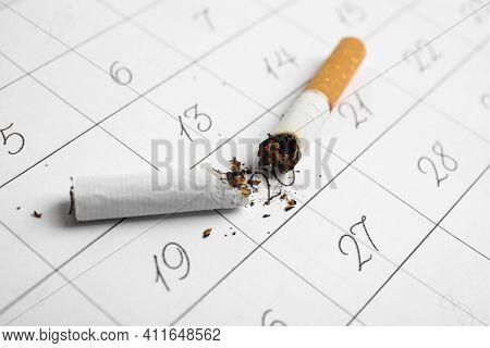 Cigarette Stubs On Calendar Sheet. Quitting Smoking Concept