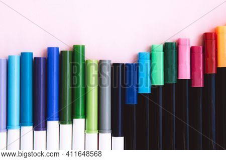 Colorful Marker Pen Set On Isolated