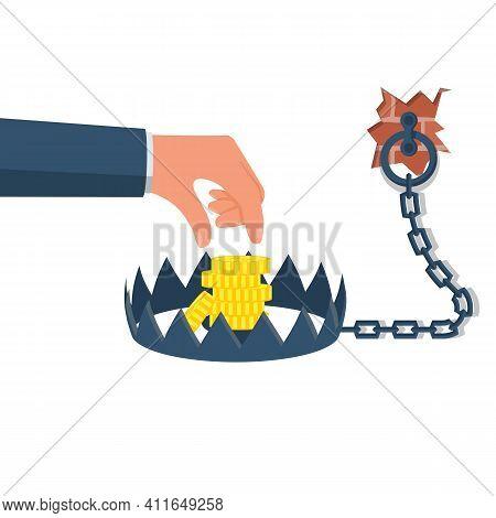 Money Trap. Business People Metaphor. Mousetrap With Golden Dollar Coin. Vector Illustration Flat De
