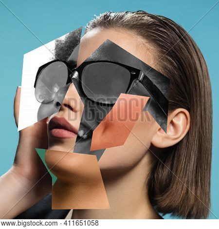 Fashionable. Young Womans Portrait Made Of Different Pieces Of Faces, Modern Art Collage. New Vision