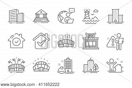 Construction Building, Arena Stadium And Lighthouse Line Icons Set. Sports Stadium, Buildings And Co