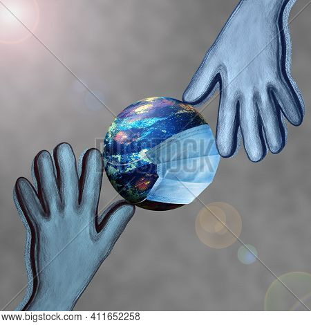 Human Rights Day. The Planet In A Protective Mask And Hands. An Image Of Global Equality And Peace O