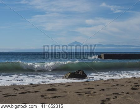 Seascape View Of Golden Sand Beach And Sea Waves At North West Coast Of Gran Canaria With View On Te