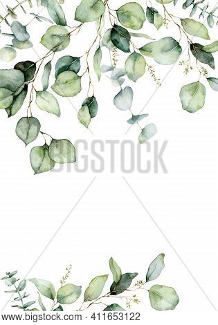 Watercolor Vertical Border Of Eucalyptus Branches, Seeds And Leaves. Hand Painted Card Of Plants Iso