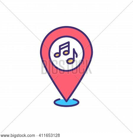 Local Live Music And Clubs Rgb Color Icon. Jazz, Rock Bars, Pubs, Taverns. Top Quality Entertainment