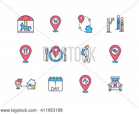 Local Tourism Rgb Color Icons Set. Amusement Park. One Day Trip. Staycation. Spending Money On Local