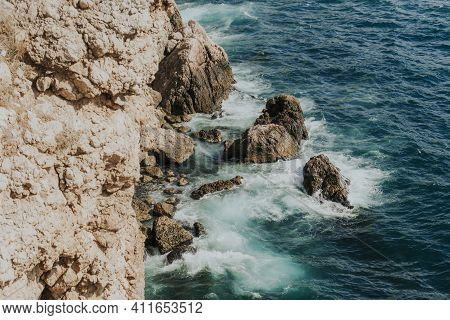 Nice View Of The Sea And Rocks. Landscapes Of Greece. Crimea Sevastopol Balaklava.