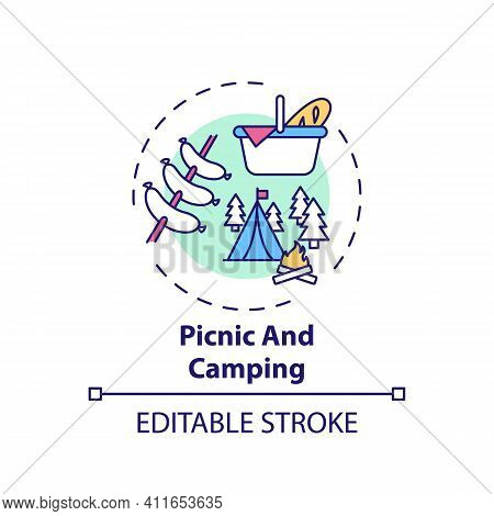 Picnic And Camping Concept Icon. Outdoor Family Activities. Eating Food In City Park Or Forest With