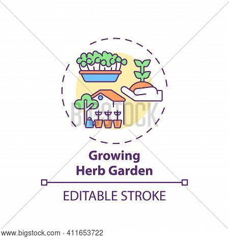 Growing Herb Garden Concept Icon. Indoor Family Activities. Creating Green Area In House With Childr
