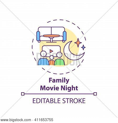Family Movie Night Concept Icon. Indoor Family Activities. Watching Films With Children. Relaxing Fa