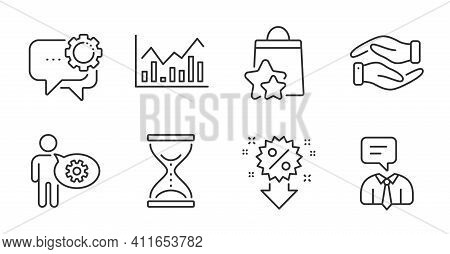 Support Service, Time Hourglass And Employees Messenger Line Icons Set. Infochart, Helping Hand And