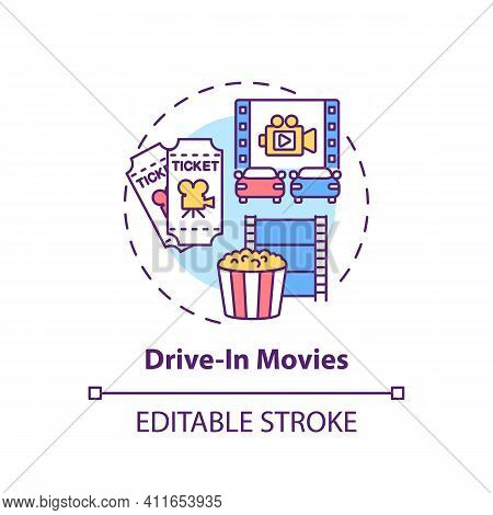Drive In Movies Concept Icon. Family Fun Ideas. Going To Car Evening Cinema With Whole Family. Fun A