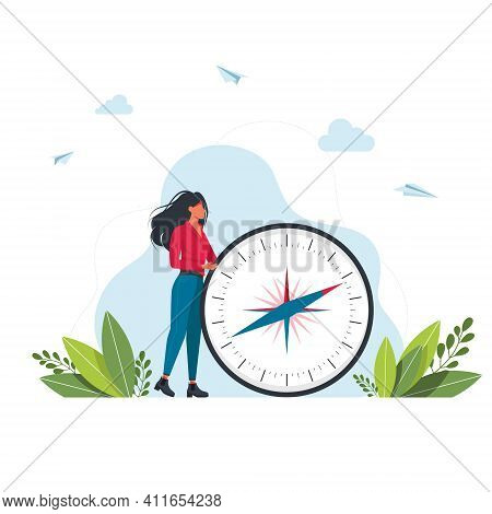 Vector Illustration Of Woman Is Holding A Big Compass In Her Hands. Cartography Orienteering, Naviga