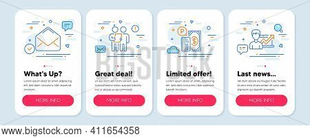 Set Of Technology Icons, Such As Survey, Mail, Parking Payment Symbols. Mobile App Mockup Banners. S