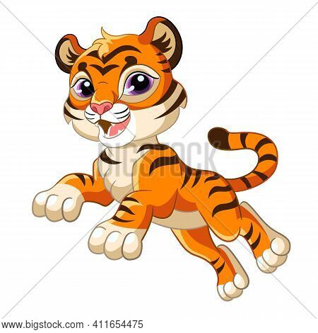 Cute Jumping Tiger. Cartoon Character. Vector Isolated Colorful Illustration. For Print And Design,