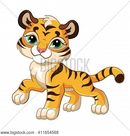Cute Little Tiger. Cartoon Character. Vector Isolated Colorful Illustration. For Print And Design, P