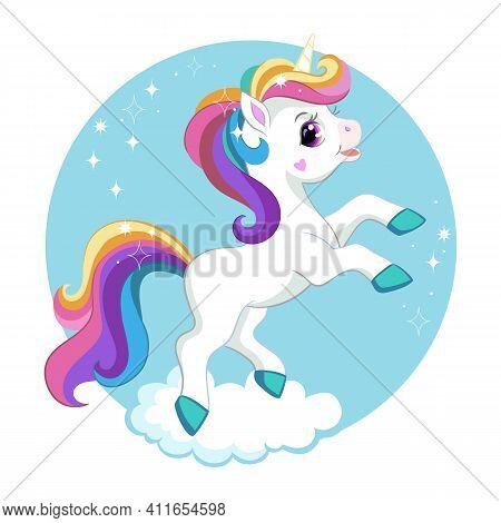 Cute Cartoon Unicorn With Rainbow Mane On A Cloud. Vector Isolated Illustration. For Print And Desig