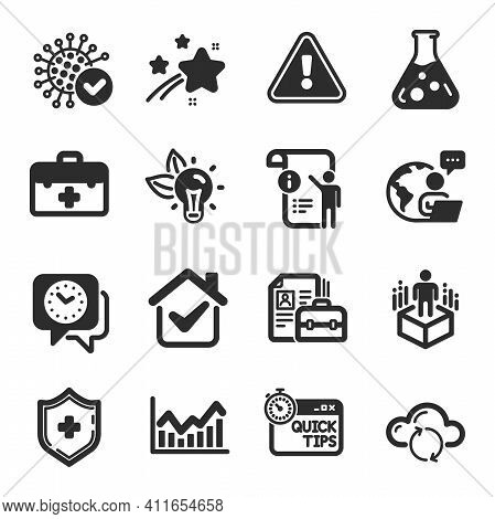 Set Of Science Icons, Such As Manual Doc, First Aid, Chemistry Lab Symbols. Coronavirus, Infochart,