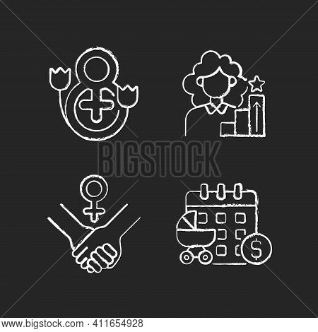 Feminism Chalk White Icons Set On Black Background. Girl Power. Women Day. Paid Maternity Leave. Wom