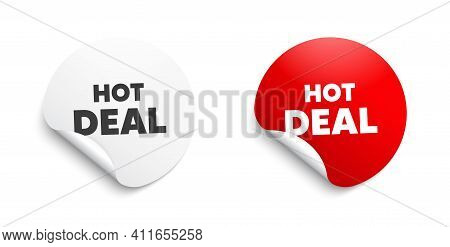 Hot Deal. Round Sticker With Offer Message. Special Offer Price Sign. Advertising Discounts Symbol.