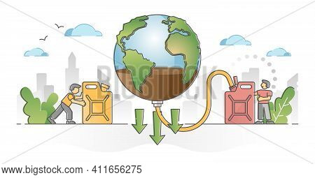 Natural Resources Depletion And Planet Reserves Exhaustion Outline Concept