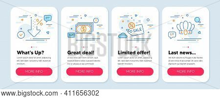 Set Of Finance Icons, Such As Low Percent, Payment, Sale Symbols. Mobile Screen Banners. Crown Line