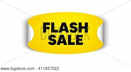 Flash Sale. Adhesive Sticker With Offer Message. Special Offer Price Sign. Advertising Discounts Sym