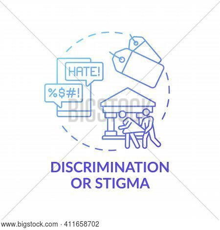 Discrimination Or Stigma Blue Gradient Concept Icon. Social Pressure, Human Harassment And Bullying.