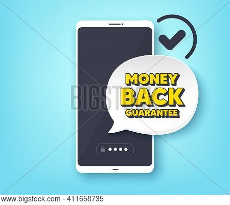 Money Back Guarantee. Mobile Phone With Alert Notification Message. Promo Offer Sign. Advertising Pr