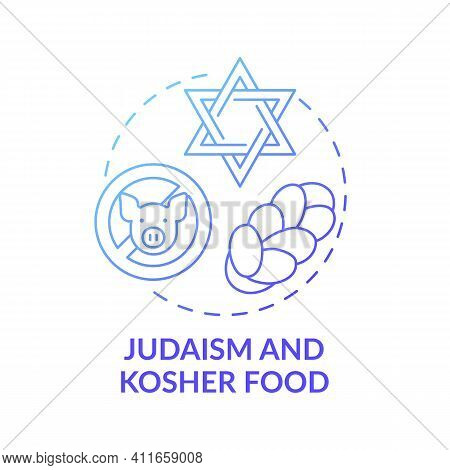 Judaism And Kosher Food Blue Gradient Concept Icon. Restrictions In Meals. No Pork Meat. Religious T