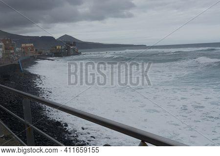 Coastal Road Gc 200 In Gran Canaria Spain. This Road Winds Along The Beautiful West Coast Of Gran Ca