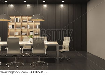 Black Style Meeting Room Interior With Wooden Wall And Built-in Shelving, Parquet And Big Conference
