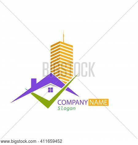 Vector Logo Template For Construction Company, Company, Repair Business, Sale, Purchase Of Rental An