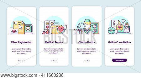Modern Health Care Onboarding App Screen Pages. Smartphone Application Walkthrough With Cartoon Illu